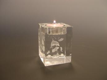 3D гравировка в стекле Подсвечник