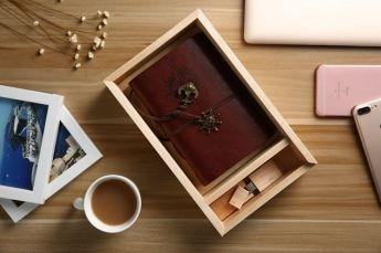 Подарочный набор ежедневник и флешка дерево в коробке из дерева Фото 1
