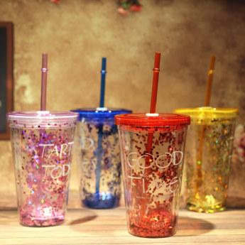 Глиттерный пластиковый стакан Фото 19