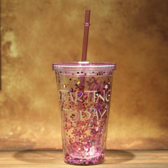 Глиттерный пластиковый стакан Фото 20