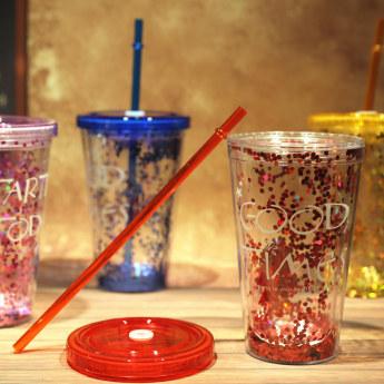 Глиттерный пластиковый стакан Фото 22