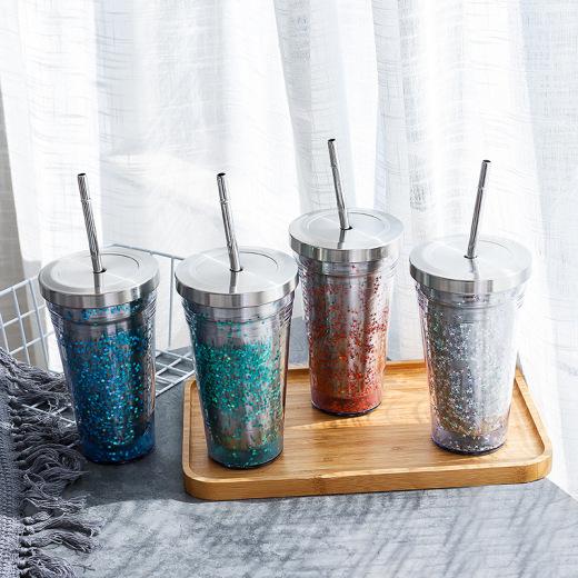 Глиттерный пластиковый стакан Фото 6
