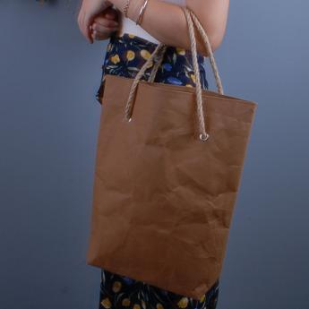 Непромокаемая бумажная сумка с веревочными ручками Фото 2