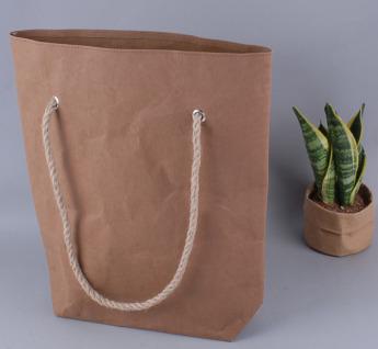 Непромокаемая бумажная сумка с веревочными ручками Фото 4