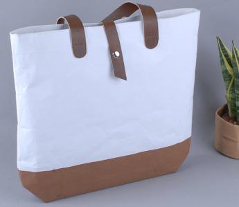 Непромокаемая бумажная сумка с ручками из экокожи Фото 3
