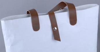 Непромокаемая бумажная сумка с ручками из экокожи Фото 4