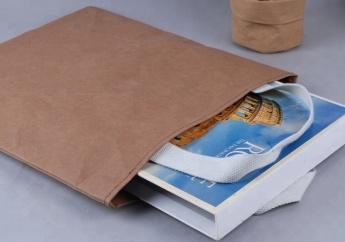 Непромокаемая бумажная сумка с тканевыми ручками Фото 2