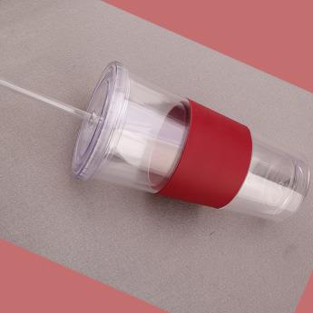 Пластиковый стакан 350-500 мл с силиконовой вставкой Фото 3