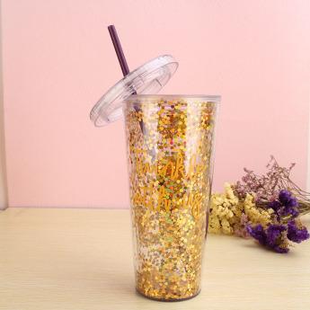 Пластиковый стакан 600мл с глиттером Фото 1