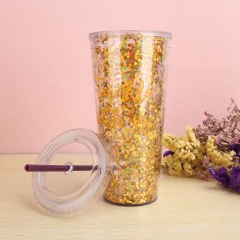 Пластиковый стакан 600мл с глиттером Фото 2